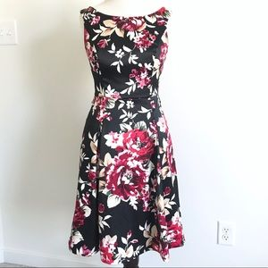 White House Floral Silky Fit and Flare Dress